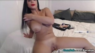 Busty Cute Babe Slides a Dildo in her Pussy